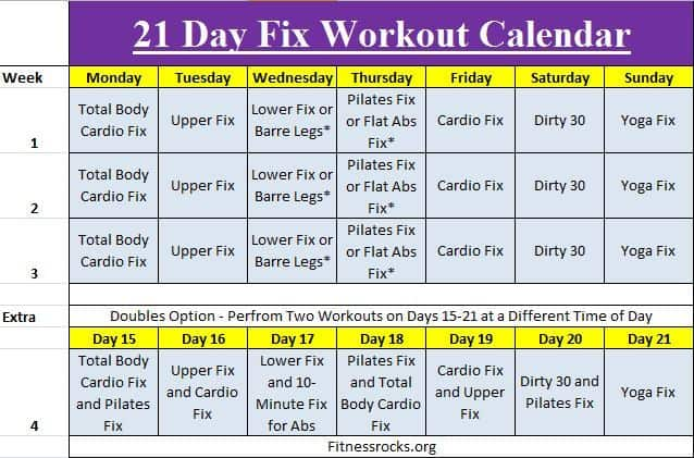 Autums 21 Day Fix Exercise Schedule