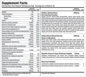 athletic greens ingredient list
