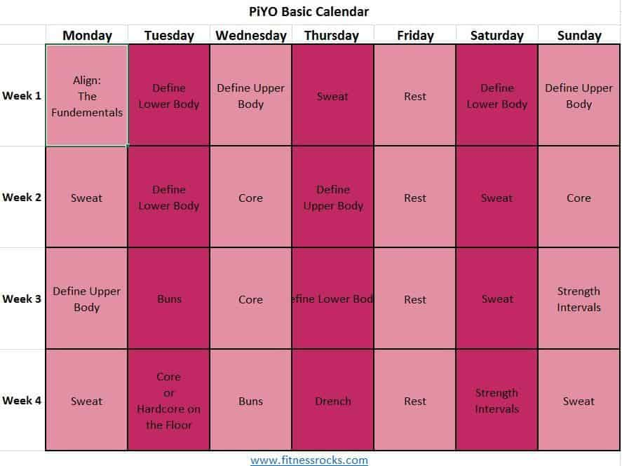 Download Or Print Workout Calendar For Piyo