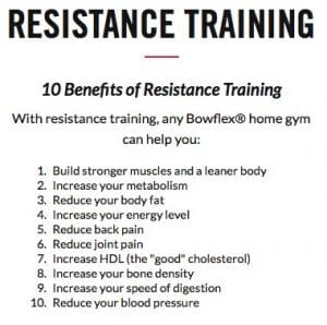 resistance training with bowflex