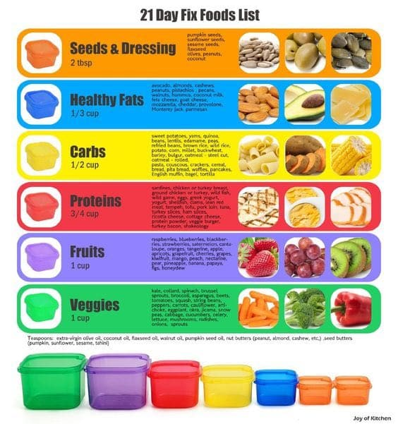 21 day fix container list