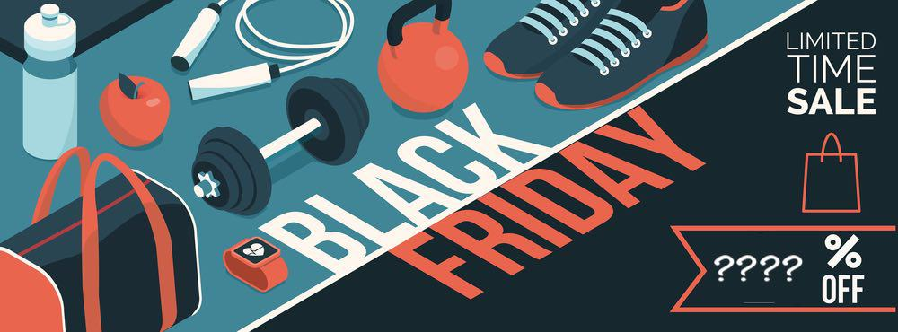 Black friday promotional sale shopping banner with products and discount: sports and workout equipment